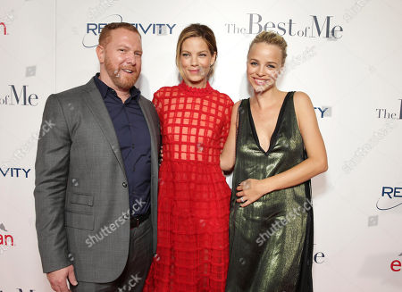 """Ryan Kavanaugh, Chief Executive Officer of Relativity, Michelle Monaghan and Jessica Roffey attend the World Premiere of Relativity Studios' upcoming release """"The Best of Me"""" held at Regal Cinemas L.A. Live,, in Los Angeles"""
