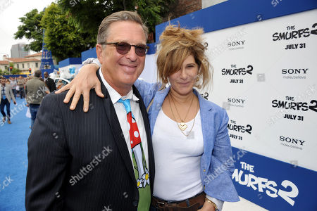 "Producer Jordan Kerner, left, and Amy Pascal, co-chairman of Sony Pictures Entertainment and chairman of Sony Pictures Entertainment Motion Picture Group, arrive to the world premiere of ""The Smurfs 2"" at the Regency Village Theatre on in Los Angeles"