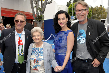 "From right, director Raja Gosnell, actress and singer Katy Perry, her grandmother Ann Hudson, and producer Jordan Kerner arrive to the world premiere of ""The Smurfs 2"" at the Regency village Theatre on in Los Angeles"