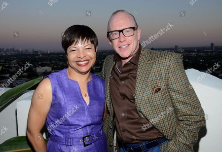 "Leilani Jones Wilmore and Kevin Goetz attend the ""Broadway To Hollywood"" Cocktail Event - Inside held at Sunset Towers on in Los Angeles, California"