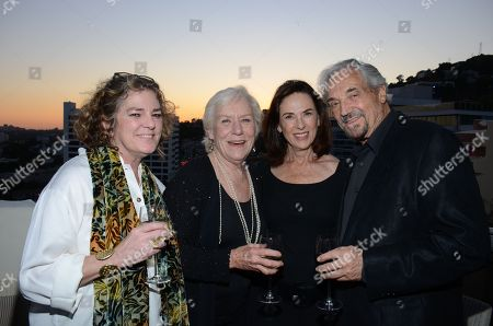 """Kate McCarthy, Actress Barbara Tarbuck, Andrea Sherman, and Actor Hal Linden attend the """"Broadway To Hollywood"""" Cocktail Event - Inside held at Sunset Towers on in Los Angeles, California"""
