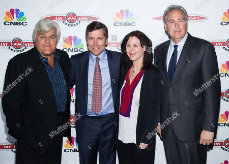 """Jay Leno, left, Steve Burke, Mavis Leno and Mark Hoffman attend """"Jay Leno's Garage"""" series launch party at The Press Lounge at Ink 48, in New York"""
