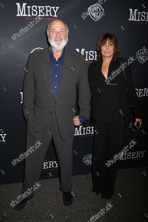 """Rob Reiner, left, and Michele Singer Reiner attend the opening night of """"Misery"""" on Broadway at the Broadhurst Theatre, in New York"""