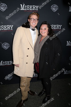 """Clay Aiken, left and guest attend the opening night of """"Misery"""" on Broadway at the Broadhurst Theatre, in New York"""