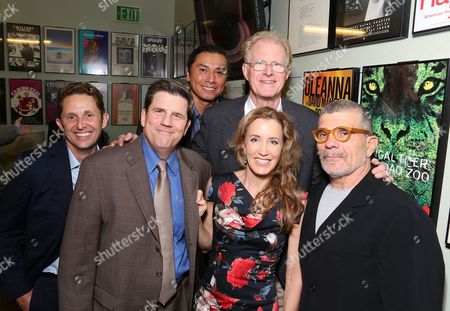 """From left, cast members Todd Weeks, Rod McLachlan, Gregory Cruz, Felicity Huffman, Ed Begley, Jr. and playwright David Mamet backstage after the opening night performance of """"November"""" at the Center Theatre Group/Mark Taper Forum, in Los Angeles, Calif"""