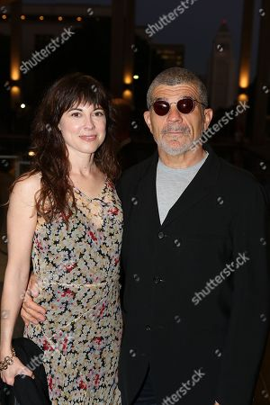 "From left, actress Rebecca Pidgeon and Playwright David Mamet pose during the arrivals for the opening night performance of ""November"" at the Center Theatre Group/Mark Taper Forum, in Los Angeles, Calif"