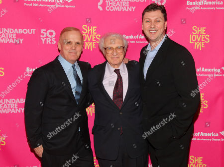 "Stock Picture of Scott Ellis, from left, Sheldon Harnick and Warren Carlyle attend the Broadway opening night of ""She Loves Me"" at Studio 54, in New York"