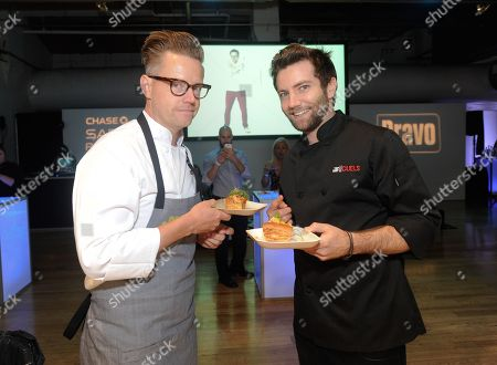 """Rival chefs Marcel Vigneron, right, and Richard Blais participate in the """"Top Chef Duels"""" Premiere Tasting Event, hosted by Chase Sapphire Preferred and Bravo, at the Altman Building, on in New York"""
