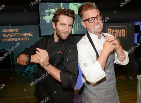 """Rival chefs Marcel Vigneron, left, and Richard Blais participate in the """"Top Chef Duels"""" Premiere Tasting Event, hosted by Chase Sapphire Preferred and Bravo, at the Altman Building, on in New York"""