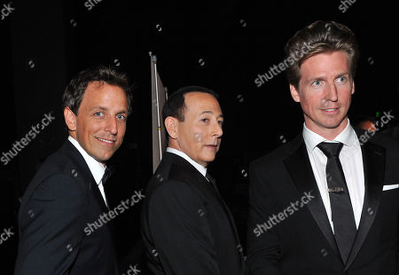 LOS ANGELES, CA - SEPTEMBER 10: (L-R) Seth Meyers, Paul Reubens, Josh Meyers backstage at the Academy of Television Arts & Sciences 2011 Primetime Creative Arts Emmy Awards at the Nokia Theater L.A. Live on in Los Angeles, California