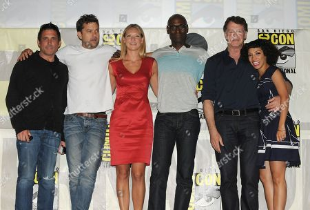 "J.H. Wyman, Joshua Jackson, Anna Torv, Lance Reddick, John Noble and Jasika Nicole at the ""Fringe"" screening and panel at Comic-Con on in San Diego, Calif"