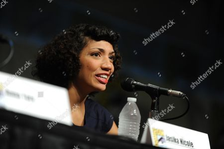"Jasika Nicole speaks at the ""Fringe"" panel at Comic-Con on in San Diego, Calif"