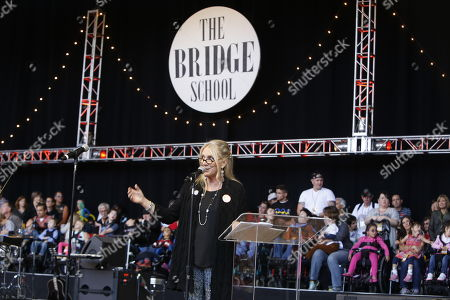 Pegi Young (wife of Neil Young) speaks on day 2 of the 2013 Bridge School Benefit at Shoreline Amphitheatre on in Mountain View California