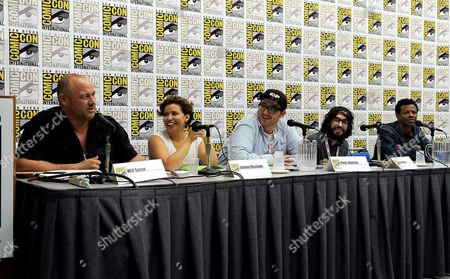"""Stock Photo of From left, Will Sasso, Justina Machado, Peter Atencio, creator Jason Ruiz and Phil Lamarr attend the FOX """"Murder Police"""" panel on Day 2 of Comic-Con International on in San Diego, Calif"""