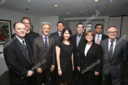 From left, Leon Silverman, Chris Gahagan, William goldenberg, A.C.E., Louis Hernandez Jr., President and CEO Avid, Carolyn Giardina, W. Sean Ford, VP Marketing Avid, Ellen Galvin, Aditya Joshi, Kevin Tent, A.C.E. pose during the 2013 Hollywood Post Alliance Awards Ceremony held at the Skirball Cultural Center on in Los Angeles, Calif