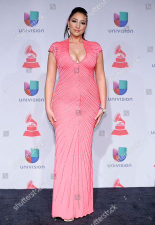Leslie Cartaya poses backstage at the 14th Annual Latin Grammy Awards at the Mandalay Bay Hotel and Casino, in Las Vegas