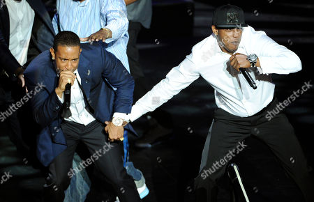 """BMI President's Award recipient Christopher """"Ludacris"""" Bridges, left, is joined onstage by rapper Mystikal as he performs at the 2014 BMI R&B Hip Hop Awards at the Pantages Theatre, in Los Angeles"""
