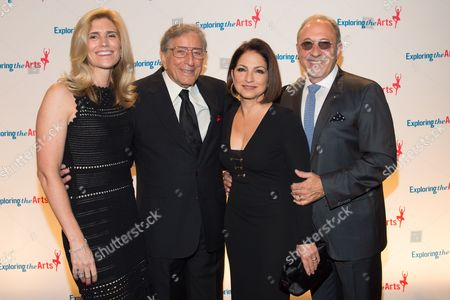 L-R) Susan Benedetto, Tony Bennett, singer Gloria Estefan and Emilio Estefan attend the 8th Annual Exploring The Arts Gala benefit at Cipriani 42nd Street, in New York