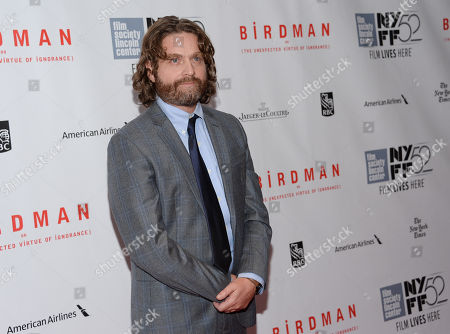 """Stock Image of Actor Zach Galifanakis attends the """"Birdman or The Unexpected Virtue of Ignorance"""" closing night gala screening during the 52nd Annual New York Film Festival at Alice Tully Hall, in New York"""