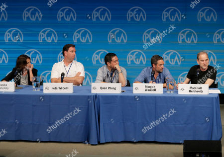 From left, Jessika Borsiczky, Peter Micelli, Quan Phung, Morgan Wandell, and Marshall Herskovitz are seen during The Revolution Has Just Been Televised: The Disrupted Landscape of TV panel at the 2014 Produced By Conference - Day 1 at Warner Bros. Studios, in Burbank, Calif