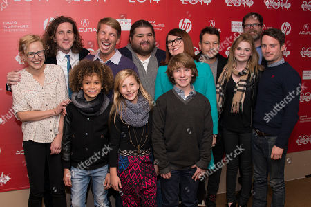 Actress Alison Pill, Actors Ian Brennan, Armani Jackson, Jack McBrayer, Actress Sunny May Allison, Actors Jorge Garcia, Cooper Roth, Actress Kate Flannery, Actor Leigh Whannel, Actress Morgan Lilly, and Actors Rainn Wilson and Elijah Wood pose at the world premiere of the film 'Cooties' during the 2014 Sundance Film Festival, on in Park City, Utah