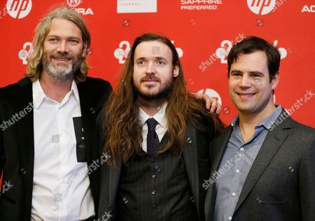 "From left to right, producers Alex Orlovsky, writer and director Mike Cahill, and Hunter Gray, right, pose together at the premiere of the film ""I Origins"" during the 2014 Sundance Film Festival, on in Park City, Utah"