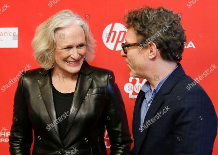 """Csat member Glenn Close, left, smiles with director Jeff Preiss, right, at the premiere of the film """"Low Down"""" during the 2014 Sundance Film Festival, on in Park City, Utah"""