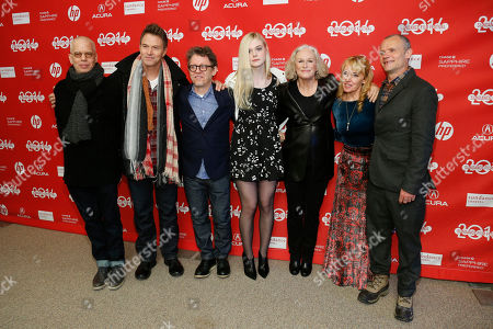 """Writer Topper Lilien, actor Tim Daly, director Jeff Preiss, actress Elle Fanning, actress Glen Close, writer Amy-Jo Albany, and actor Flea poses at the premiere of the film """"Low Down"""" during the 2014 Sundance Film Festival, on in Park City, Utah"""