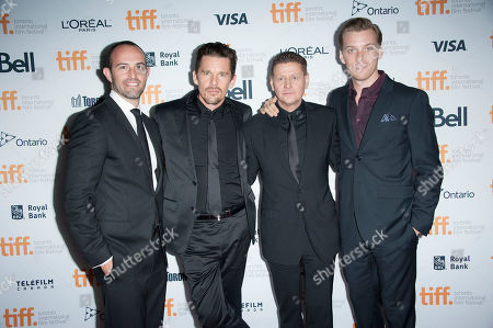 "Producer Zev Foreman, actor Ethan Hawke, director Andrew Niccol and actor Jake Abel seen at the premiere of ""Good Kill"" at the Ryerson Theatre during the 2014 Toronto International Film Festival, in Toronto, Ontario"