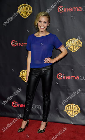 """Breanne Hill, a cast member in the upcoming film """"San Andreas"""" poses before the Warner Bros. presentation at CinemaCon 2015 at Caesars Palace, in Las Vegas"""