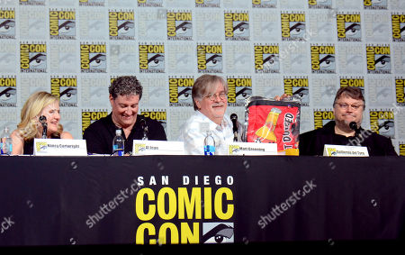 "Nancy Cartwright, from left, Al Jean, Matt Groening, and Guillermo del Toro attend ""The Simpsons"" panel on day 3 of Comic-Con International, in San Diego"