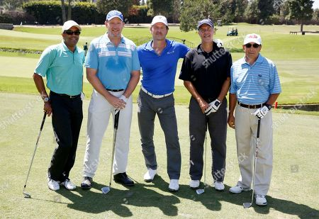 Andre DeSouza, Matt Kirmer, Jeff Nordling, Darin Simian, and Dick O'Donnell are seen at the 16th Emmys Golf Classic presented by the Television Academy Foundation at the Wilshire Country Club on in Los Angeles