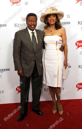 Stock Photo of Billy Davis Jr. (left) and Marilyn McCoo arrive on the red carpet at the 2015 Kentucky Derby on at Churchill Downs in Louisville, Ky