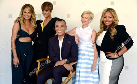 "Chrissy Teigen, from left, Tyra Banks, Joe Zee, Leah Ashley and Lauren Makk, hosts of the lifestyle talk show ""FABLife,"" pose together for a portrait during the 2015 Television Critics Association Summer Press Tour at the Beverly Hilton, in Beverly Hills, Calif"