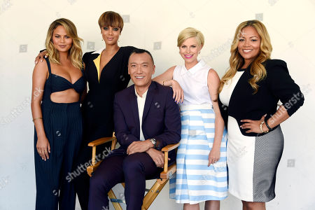 "Left to right, Chrissy Teigen, Tyra Banks, Joe Zee, Leah Ashley and Lauren Makk, hosts of the lifestyle talk show ""FABLife,"" pose together for a portrait at the 2015 Television Critics Association Summer Press Tour at the Beverly Hilton, in Beverly Hills, Calif"