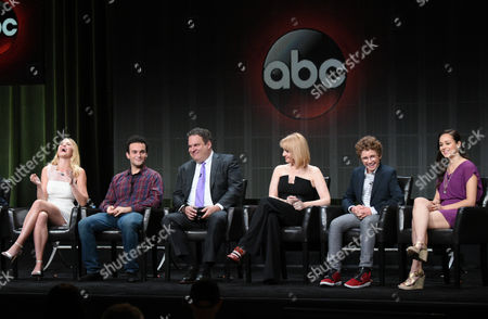 """AJ Michalka, from left, Troy Gentile, Jeff Garlin, Wendi McLendon-Covey, Sean Giambrone and Hayley Orrantia participate in """"The Goldbergs"""" panel at the Disney/ABC Summer TCA Tour at the Beverly Hilton Hotel, in Beverly Hills, Calif"""