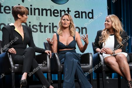 "Stock Photo of Tyra Banks, from left, Chrissy Teigen and Lauren Makk participate in the ""FABLife"" panel at the Disney/ABC Summer TCA Tour at the Beverly Hilton Hotel, in Beverly Hills, Calif"