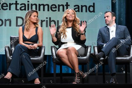 "Stock Picture of Chrissy Teigen, from left, Lauren Makk and executive producer Shane Farley participate in the ""FABLife"" panel at the Disney/ABC Summer TCA Tour at the Beverly Hilton Hotel, in Beverly Hills, Calif"