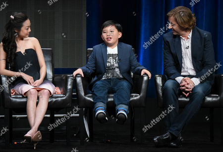 """Krista Marie Yu, from left, Albert Tsai and Executive Producer Mike Sikowitz participate in the """"Dr. Ken"""" panel at the Disney/ABC Summer TCA Tour at the Beverly Hilton Hotel, in Beverly Hills, Calif"""