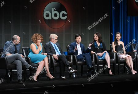 """Jonathan Slavin, from left, Tisha Campbell-Martin, Dave Foley, Ken Jeong, Suzy Nakamura and Krista Marie Yu participate in the """"Dr. Ken"""" panel at the Disney/ABC Summer TCA Tour at the Beverly Hilton Hotel, in Beverly Hills, Calif"""