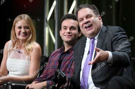 """AJ Michalka, from left, Troy Gentile and Jeff Garlin participate in """"The Goldbergs"""" panel at the Disney/ABC Summer TCA Tour at the Beverly Hilton Hotel, in Beverly Hills, Calif"""