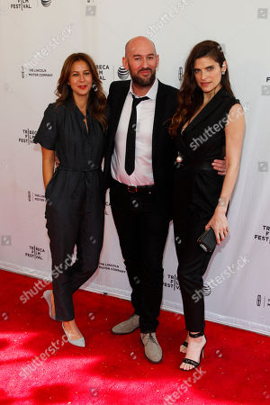"""Tess Morris, from left, Ben Palmer and Lake Bell attend the Tribeca Film Festival world premiere of """"Man Up"""" at the SVA Theatre, in New York"""