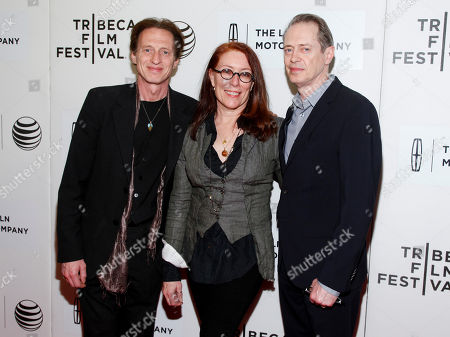 """Michael Buscemi, from left, Jo Andres and Steve Buscemi attend the Tribeca Film Festival world premiere of """"The Wannabe"""", in New York"""