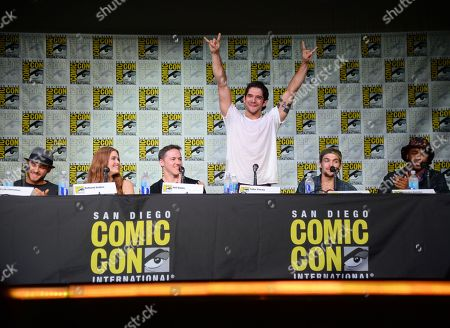 """Cody Christian, from left, Holland Roden, Jeff Davis, Tyler Posey, Dylan Sprayberry and Khylin Rhambo attend the """"Teen Wolf"""" panel on day 1 of Comic-Con International, in San Diego"""