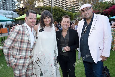 Nickolaus Brown, from left, Terry Ann Gordon, Paolo Nieddu costume designer of Empire, and Salvador Perez seen at the 10th Annual Art of Television Costume Design Exhibition opening at the FIDM Museum & Galleries on the Park, in Los Angeles