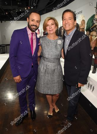 Nick Verreos, from left, Barbara Bundy, and Bruce Rosenblum are seen at the 10th Annual Art of Television Costume Design Exhibition opening at the FIDM Museum & Galleries on the Park, in Los Angeles
