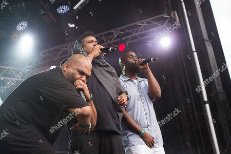 Vincent Mason, left, David Jude Jolicoeur and Kelvin Mercer from the band De La Soul perform on day two of the Governors Ball Music Festival, in New York