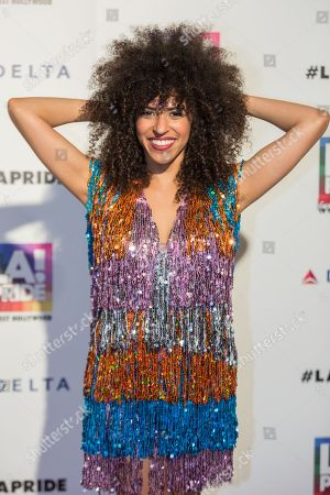 "Gavin Turek arrives at the ""LA Pride Festival and Parade"" event at the West Hollywood Park, in Los Angeles"