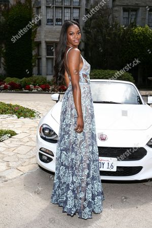 Eugena Washington, Playmate of the Year, at Playboy's 2016 Playmate of the Year Announcement held at the Playboy Mansion on in Los Angeles