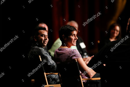 Editor Moira Demos, right, and Kabir Akhtar, ACE, left, participate during the 2016 Prime Cuts hosted by the Television Academy in the Wolf Theater on in the NoHo Arts District in Los Angeles